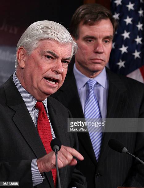 Sen Christopher Dodd and Sen Mark Warner participate in a news conference on April 19 2010 in Washington DC Senate Banking Chairman Dodd spoke about...