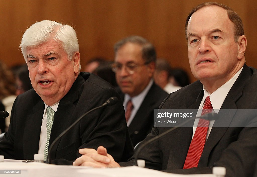 Sen. <a gi-track='captionPersonalityLinkClicked' href=/galleries/search?phrase=Christopher+Dodd+-+Politician&family=editorial&specificpeople=207036 ng-click='$event.stopPropagation()'>Christopher Dodd</a> (D-CT) (L) and Sen. <a gi-track='captionPersonalityLinkClicked' href=/galleries/search?phrase=Richard+Shelby&family=editorial&specificpeople=529578 ng-click='$event.stopPropagation()'>Richard Shelby</a> (R-AL) participate in a Senate-House Conference Committee meeting on Capitol Hill, June 22, 2010 in Washington, DC. The Conference Committee is discussing the Senate and House versions of the financial regulatory reform bill in hopes of a compromise that both houses will accept.
