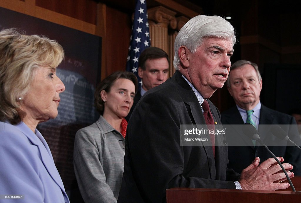 Sen. Christopher Dodd (D-CT) (2R) speaks while flanked by Sen. Richard Durbin (D-IL) (R), Sen. Blanche Lincoln (D-AR) (2L), Sen. Mark Warner (D-VA) (C), and Sen. Barbara Boxer (D-CA), after the Senate voted to pass Wall Street reform, on May 20, 2010 in Washington, DC. In a 59-39 vote the Senate passed the landmark Wall Street regularly reform bill that will increase restrictions on the banking industry.