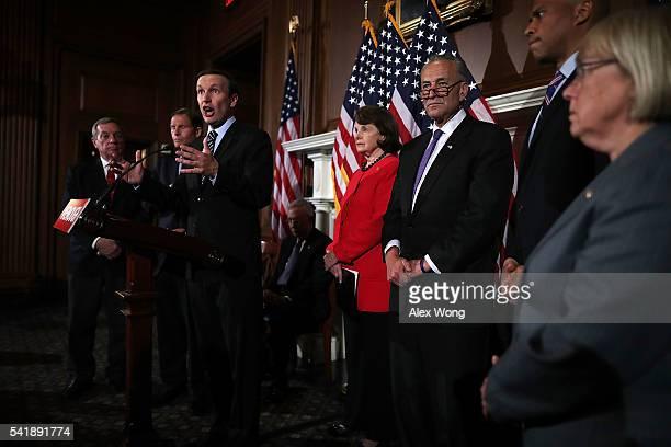 S Sen Christopher Murphy speaks as Senate Minority Whip Richard Durbin Sen Richard Blumenthal Sen Dianne Feinstein Sen Charles Schumer Sen Cory...