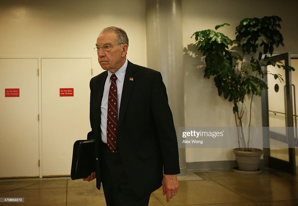 U.S. Sen. <a gi-track='captionPersonalityLinkClicked' href=/galleries/search?phrase=Chuck+Grassley&family=editorial&specificpeople=504960 ng-click='$event.stopPropagation()'>Chuck Grassley</a> (R-IA) leaves after a vote on Loretta Lynch to become the next U.S. Attorney General April 23, 2015 on Capitol Hill in Washington, DC. The Senate has confirmed the nomination with a vote of 56 to 43.