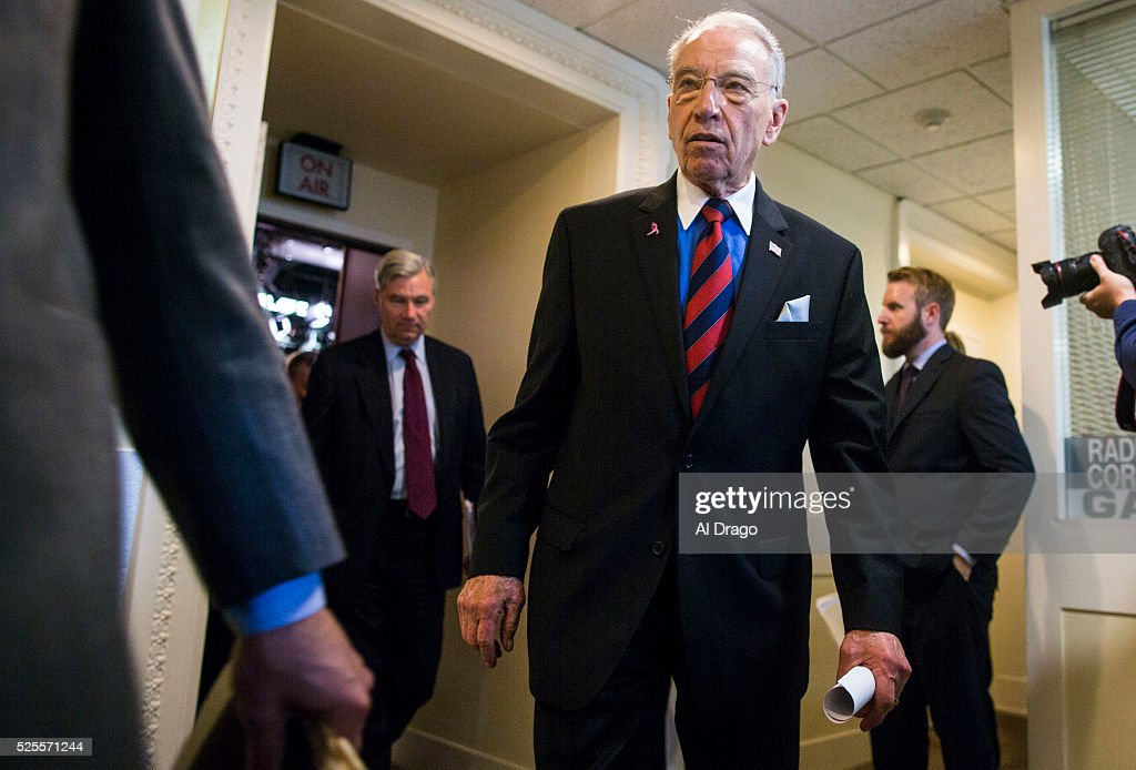 STATES - APRIL 28 - Sen. Chuck Grassley, R-Iowa, departs from a news conference about proposed criminal sentencing reform legislation, in the U.S. Capitol in Washington, Thursday, April 28, 2016.