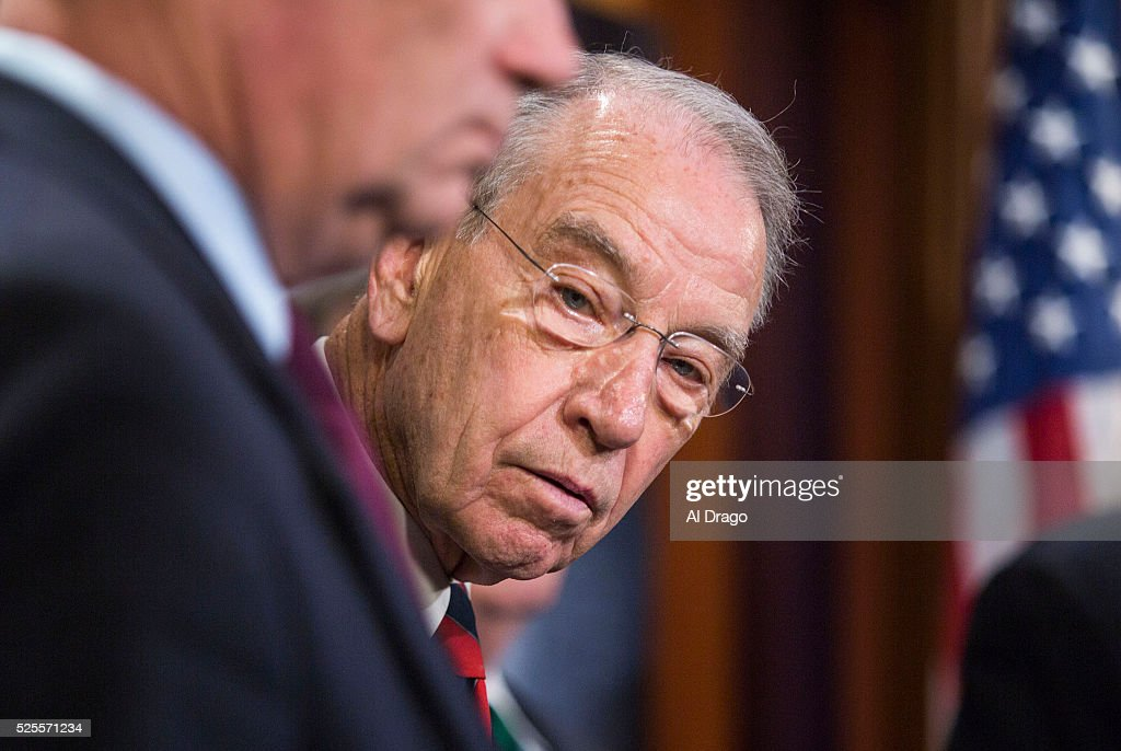 STATES - APRIL 28 - Sen. Chuck Grassley, R-Iowa, listens during a news conference about proposed criminal sentencing reform legislation, in the U.S. Capitol in Washington, Thursday, April 28, 2016.