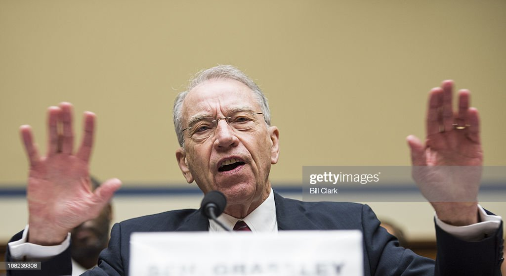 Sen. Chuck Grassley, R-Iowa, testifies during the House Oversight and Government Reform Committee's Economic Growth, Job Creation, and Regulatory Affairs Subcommittee and House Judiciary Committee's Constitution and Civil Justice Subcommittee joint hearing on 'The DOJ's Quid Pro Quo with St. Paul: A Whistleblower's Perspective' on Tuesday, May 7, 2013.