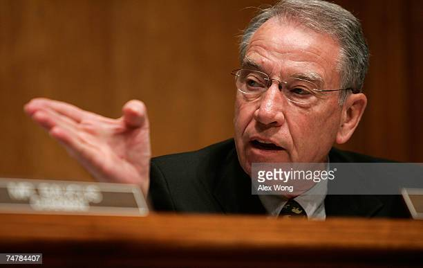 S Sen Chuck Grassley speaks during a Senate Finance Committee markup of the 'Energy Advancement and Investment Act of 2007' June 19 2007 on Capitol...