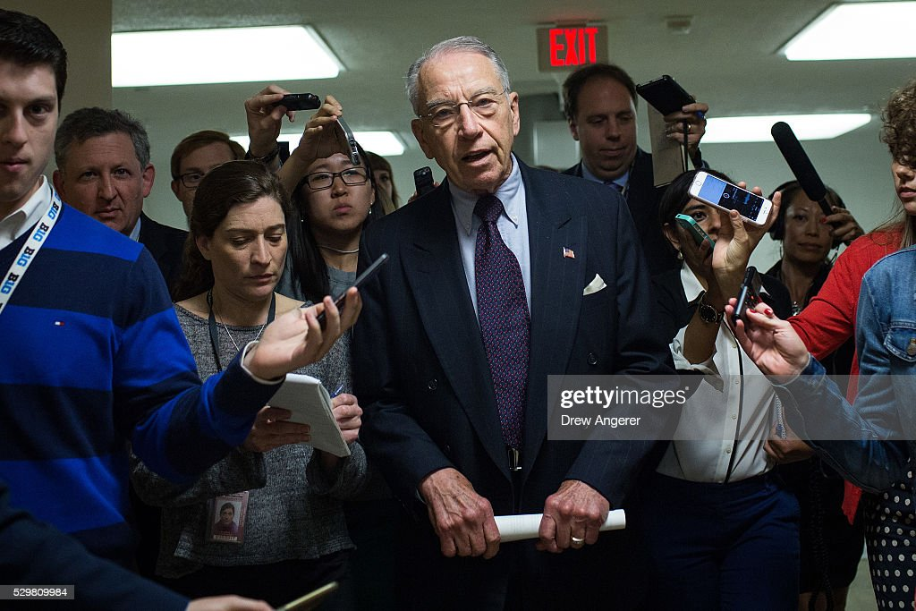 Sen. Chuck Grassley (R-IA) speaks with reporters on his way to a vote at the U.S. Capitol, May 9, 2016, in Washington, DC. Senate Democrats defeated a procedural vote on an energy bill, which increases funding for the Department of Energy and Army Corps of Engineers.