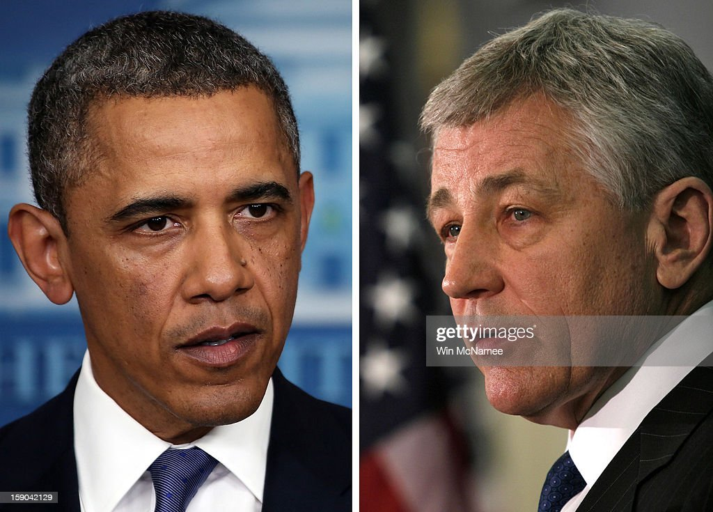 In this composite image a comparison has been made between US President Barack Obama (L) and Chuck Hagel. Obama will reportedly nominate former Republican Senator Chuck Hagel for Defense Secretary replacing Defense Secretary Leon Panetta. OMAHA, NE- MARCH 12: U.S. Sen. Chuck Hagel (R-NE) speaks at the University of Nebraska-Omaha March 12, 2007 in Omaha, Nebraska. Hagel announced that he will postpone making a decision on whether to seek the Republican nomination for president until later this year.
