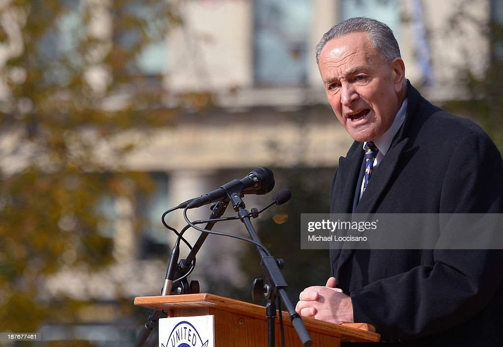 U.S. Sen. Chuck Schumer (D-NY) addresses the audience during the 94th annual New York City Veterans Day Parade on 5th Avenue on November 11, 2013 in New York City. The parade is the largest of its kind in the country and this year is especially dedicated to women serving in the armed forces.