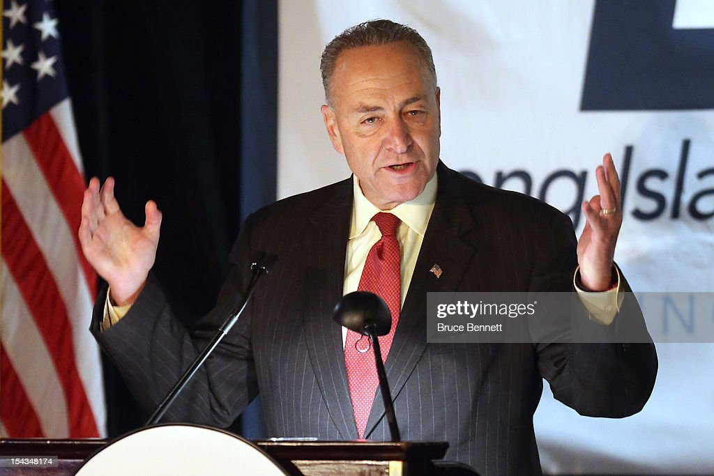 U.S. Sen. Chuck Schumer (D-NY) attends an appearance by former Vice President Dick Cheney at the Long Island Association fall luncheon at the Crest Hollow Country Club on October 18, 2012 in Woodbury, New York. Cheney discussed foreign and domestic issues, including the upcoming presidential election, at the business organization's luncheon.