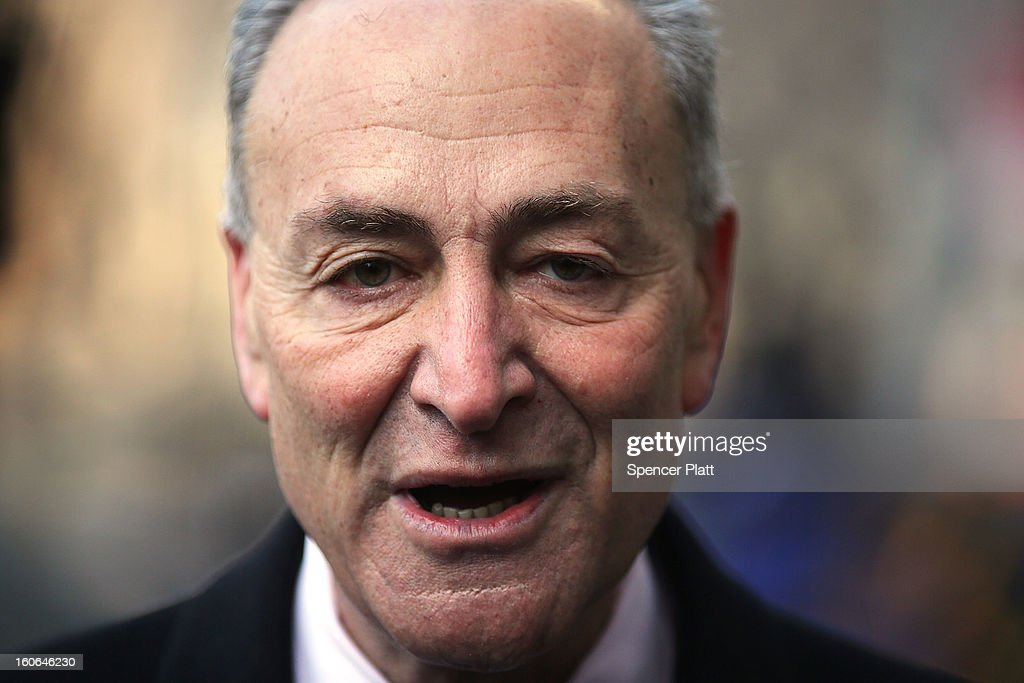 U.S. Sen. Chuck Schumer (D-NY) attends funeral services for former New York City Mayor Ed Koch at Manhattan's Temple Emanu-El on February 4, 2013 in New York City.The iconic former New York mayor passed away on February 1, 2013 in New York City at age 88. Ed Koch was New York's 105th mayor and ran the city from 1978-89. He was often outspoken and combative and has been credited with rescuing the city from near-financial ruin during a three-term City Hall run. Former Governor Mario Cuomo is at left.