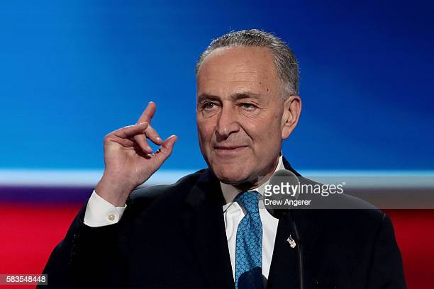 Sen Chuck Schumer deliovers remarks on the second day of the Democratic National Convention at the Wells Fargo Center July 26 2016 in Philadelphia...
