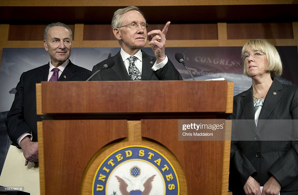 Sen. Chuck Schumer, D-N.Y.; Senate Majority Leader Harry Reid, D-Nev.; and Sen. Patty Murray, D-Wash., hold a press conference addressing the ongoing 'Fiscal Cliff' negotiations and funding for Hurricane Sandy relief efforts.