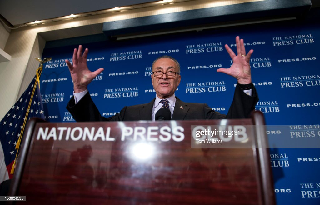 Sen. Chuck Schumer, D-N.Y., speaks at a National Press Club Newsmaker Program on 'how the presidential election should influence national Democrats' approach to tax reform later this year.'