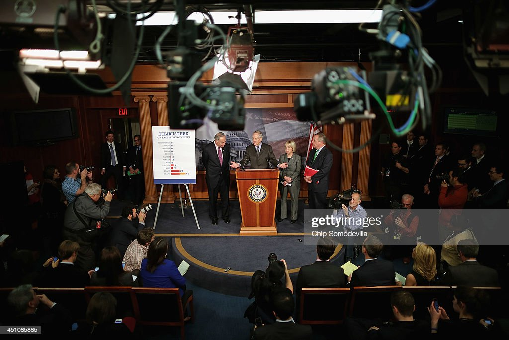 Sen. Chuck Schumer (D-NY), Senate Majority Leader <a gi-track='captionPersonalityLinkClicked' href=/galleries/search?phrase=Harry+Reid+-+Politician&family=editorial&specificpeople=203136 ng-click='$event.stopPropagation()'>Harry Reid</a> (D-NV), Sen. <a gi-track='captionPersonalityLinkClicked' href=/galleries/search?phrase=Patty+Murray&family=editorial&specificpeople=532963 ng-click='$event.stopPropagation()'>Patty Murray</a> (D-WA) and Senate Majority Whip Richard Durbin (D-IL) talk to reporters about the use of the 'nuclear option' at the U.S. Capitol November 21, 2013 in Washington, DC. The Senate voted 52-48 to invoke the so-called 'nuclear option', voting to change Senate rules on the controversial filibuster for most presidential nominations with a simple majority vote.