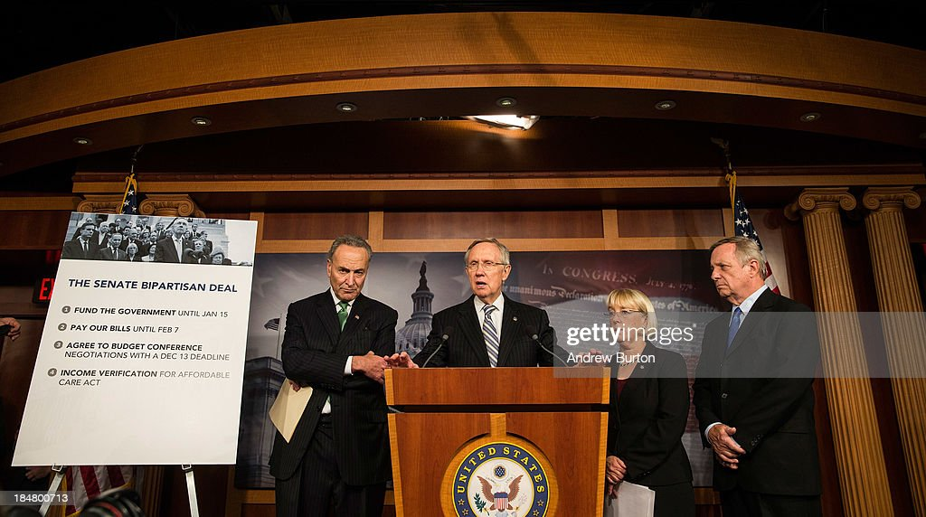 Sen. Chuck Schumer (D-NY), Senate Majority Leader Sen. <a gi-track='captionPersonalityLinkClicked' href=/galleries/search?phrase=Harry+Reid+-+Politician&family=editorial&specificpeople=203136 ng-click='$event.stopPropagation()'>Harry Reid</a> (D-NV), Sen. <a gi-track='captionPersonalityLinkClicked' href=/galleries/search?phrase=Patty+Murray&family=editorial&specificpeople=532963 ng-click='$event.stopPropagation()'>Patty Murray</a> (D-WA) and Sen. <a gi-track='captionPersonalityLinkClicked' href=/galleries/search?phrase=Dick+Durbin&family=editorial&specificpeople=208219 ng-click='$event.stopPropagation()'>Dick Durbin</a> (D-IL) speak at a press conference after successfully pushing a bipartisan bill through the U.S. Senate to restart the government and raise the debt limit at the U.S. Capitol October 16, 2013 in Washington, DC. The bill still needs to be approved by the house. If the bill is signed into law, it will fund the government until January 15, 2014 and allow the government to pay bills until February 7, 2014.