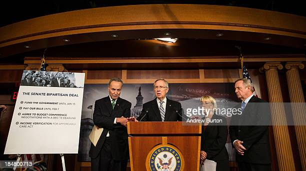 Sen Chuck Schumer Senate Majority Leader Sen Harry Reid Sen Patty Murray and Sen Dick Durbin speak at a press conference after successfully pushing a...