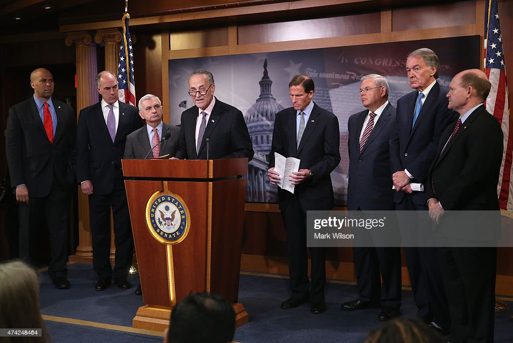 Sen. Chuck Schumer (D-NY) (C) speaks about Amtrak funding while flanked by (L-R) <a gi-track='captionPersonalityLinkClicked' href=/galleries/search?phrase=Cory+Booker&family=editorial&specificpeople=638070 ng-click='$event.stopPropagation()'>Cory Booker</a> (D-NJ), Bob Casey (D-PA), <a gi-track='captionPersonalityLinkClicked' href=/galleries/search?phrase=Jack+Reed+-+Politiker&family=editorial&specificpeople=534274 ng-click='$event.stopPropagation()'>Jack Reed</a> (D-RI), <a gi-track='captionPersonalityLinkClicked' href=/galleries/search?phrase=Richard+Blumenthal&family=editorial&specificpeople=1036916 ng-click='$event.stopPropagation()'>Richard Blumenthal</a> (D-CT), Bob Menendez (D-NJ), <a gi-track='captionPersonalityLinkClicked' href=/galleries/search?phrase=Edward+Markey&family=editorial&specificpeople=630856 ng-click='$event.stopPropagation()'>Edward Markey</a> (D-MA) and Chris Coons (D-DE) during a news conference on Capitol Hill May 21, 2015 in Washington, DC. The Senators representing states along Amtrak's Northeast Corridor will urge the Senate Appropriations Committee to fully fund Amtrak's funding request.