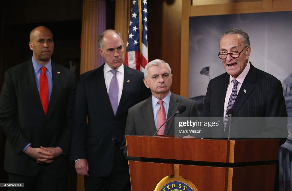 Sen. Chuck Schumer (D-NY) (R) speaks about Amtrak funding while flanked by Senators <a gi-track='captionPersonalityLinkClicked' href=/galleries/search?phrase=Jack+Reed+-+Politiker&family=editorial&specificpeople=534274 ng-click='$event.stopPropagation()'>Jack Reed</a> (D-RI) (2ndR), Bob Casey (D-PA) (2ndL) and <a gi-track='captionPersonalityLinkClicked' href=/galleries/search?phrase=Cory+Booker&family=editorial&specificpeople=638070 ng-click='$event.stopPropagation()'>Cory Booker</a> (D-NJ) (L) during a news conference on Capitol Hill May 21, 2015 in Washington, DC. The Senators representing states along Amtrak's Northeast Corridor will urge the Senate Appropriations Committee to fully fund Amtrak's funding request.
