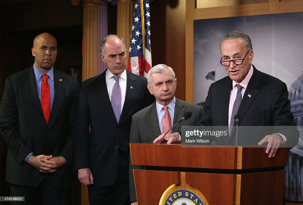 Sen. Chuck Schumer (D-NY) (R) speaks about Amtrak funding while flanked by Senators <a gi-track='captionPersonalityLinkClicked' href=/galleries/search?phrase=Jack+Reed+-+Pol%C3%ADtico&family=editorial&specificpeople=534274 ng-click='$event.stopPropagation()'>Jack Reed</a> (D-RI) (2ndR), Bob Casey (D-PA) (2ndL) and <a gi-track='captionPersonalityLinkClicked' href=/galleries/search?phrase=Cory+Booker&family=editorial&specificpeople=638070 ng-click='$event.stopPropagation()'>Cory Booker</a> (D-NJ) (L) during a news conference on Capitol Hill May 21, 2015 in Washington, DC. The Senators representing states along Amtrak's Northeast Corridor will urge the Senate Appropriations Committee to fully fund Amtrak's funding request.