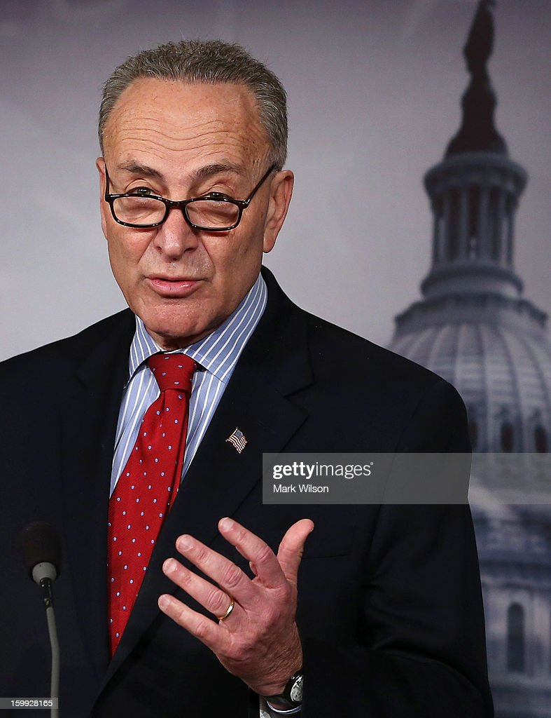 Sen. Chuck Schumer (D-NY) speaks about the debt ceiling, on January 23, 2013 in Washington, DC. The Senate Democrats discussed the House's scheduled vote on suspending the debt ceiling.