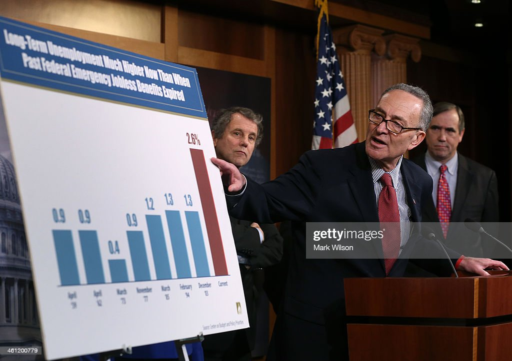 U.S. Sen. Chuck Schumer (D-NY) (C), speaks while U.S. Sen. Sherrod Brown (D-OH) (L) and U.S. Sen. Jeff Merkly (D-OR) (R), listen, after the Senate cloture vote on unemployment insurance at the U.S. Capitol January 7, 2014 in Washington, DC. The U.S. Senate voted 60-37 to move forward with a bill to extend federal unemployment benefits for three months.