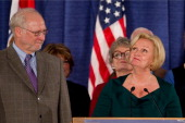 S Sen Claire McCaskill acknowledges her recently deceased mother Betty Anne McCaskill as she speaks to supporters next to her husband Joseph Shepard...