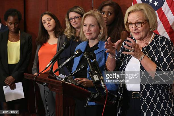 Sen Claire McCaskill and Sen Kristen Gillibrand are joined by survivors of campus sexual assult during a news conference about new legislation aimed...