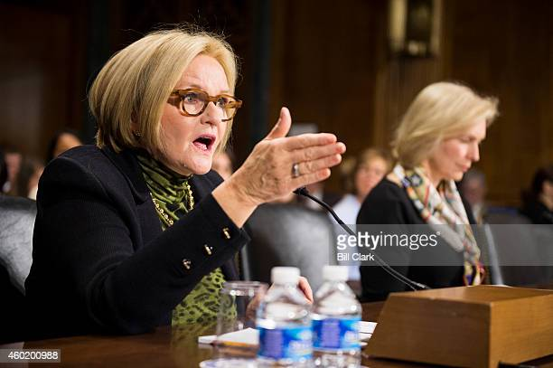 Sen Claire McCaskill DMo left and Sen Kirsten Gillibrand DNY testify during the Senate Judiciary Committee Crime and Terrorism Subcommittee hearing...
