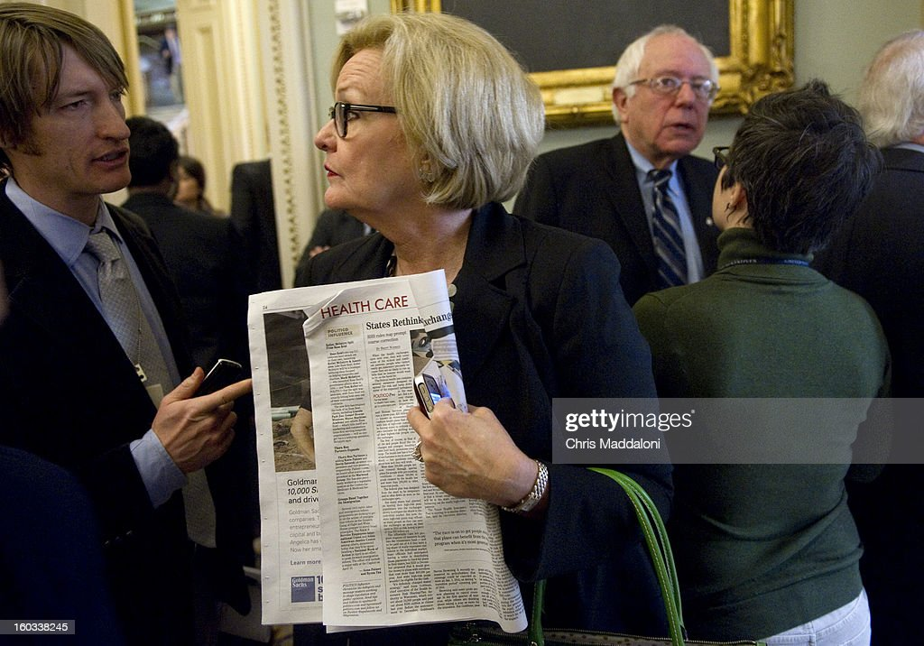 Sen. Claire McCaskill, D-Mo., speaks to the press at the weekly Senate luncheons. A bi-partisan agreement on the principals on a comprehensive immigration reform bill was announced yesterday, and Obama is expected to make a major speech on this issue this afternoon.