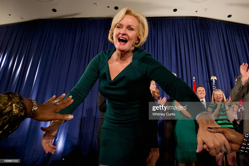 U.S. Sen. <a gi-track='captionPersonalityLinkClicked' href=/galleries/search?phrase=Claire+McCaskill&family=editorial&specificpeople=3951404 ng-click='$event.stopPropagation()'>Claire McCaskill</a> (D-MO) greets supporters during an election night party November 6, 2012 in St. Louis, Missouri. McCaskill defeated Rep. Todd Akin (R-MO) for the Missouri U.S. Senate seat. McCaskill won in her re-election bid against U.S. Rep. Todd Akin (R-MO) for the Missouri U.S. senate seat.