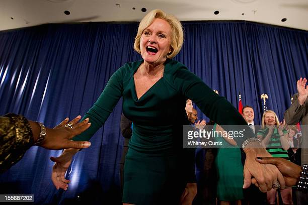 S Sen Claire McCaskill greets supporters during an election night party November 6 2012 in St Louis Missouri McCaskill defeated Rep Todd Akin for the...