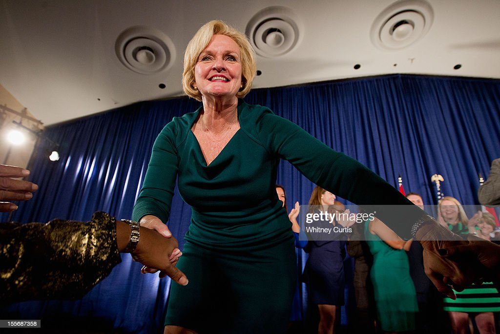 U.S. Sen. <a gi-track='captionPersonalityLinkClicked' href=/galleries/search?phrase=Claire+McCaskill&family=editorial&specificpeople=3951404 ng-click='$event.stopPropagation()'>Claire McCaskill</a> (D-MO) greets supporters during an election night party November 6, 2012 in St. Louis, Missouri. McCaskill defeated Rep. Todd Akin (R-MO) for the Missouri U.S. senate seat.