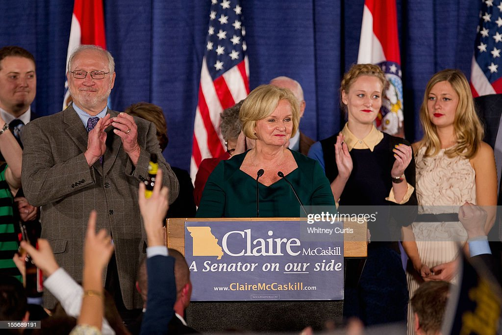U.S. Sen. <a gi-track='captionPersonalityLinkClicked' href=/galleries/search?phrase=Claire+McCaskill&family=editorial&specificpeople=3951404 ng-click='$event.stopPropagation()'>Claire McCaskill</a> (D-MO) is surrounded by family members as she speaks to supporters during an election night party November 6, 2012 in St. Louis, Missouri. McCaskill defeated Rep. Todd Akin (R-MO) for the Missouri U.S. senate seat.