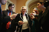 S Sen Claire McCaskill leaves after a Democratic Senate leadership election at the US Capitol November 13 2014 in Washington DC US Senate Democratice...