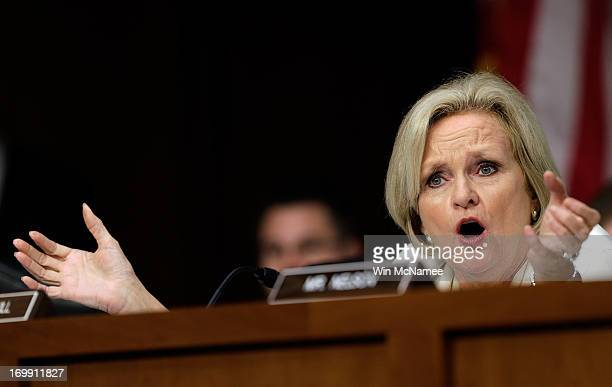 Sen Claire McCaskill questions US military leaders while they testify before the Senate Armed Services Committee on pending legislation regarding...