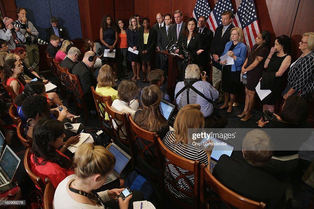 Sen Claire McCaskill Sen Dean Heller Sen Richard Blumenthal Sen Kirsten Gillibrand Sen Kelly Ayotte Sen Mark Warner and Sen Marco Rubio are joined by...