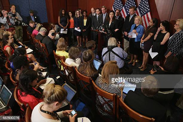 Sen Claire McCaskill Sen Dean Heller Sen Richard Blumenthal Sen Kirsten Gillibrand Sen Kelly Ayotte Sen Mark Warner and Sen Marco Rubio are joined by...