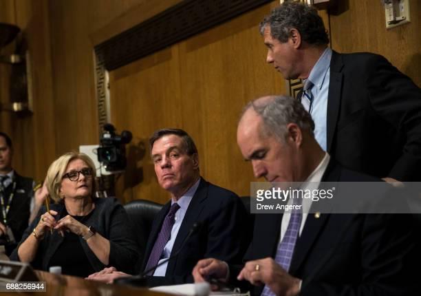 Sen Claire McCaskill Sen Mark Warner Sen Bob Casey and Sen Sherrod Brown arrive for a Senate Finance Committee hearing concerning fiscal year 2018...