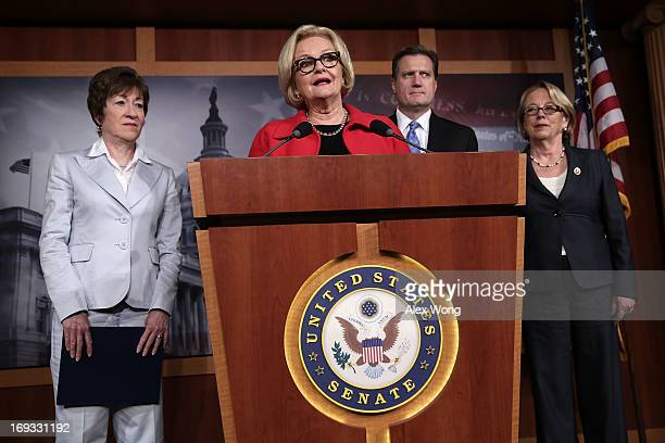 S Sen Claire McCaskill Sen Susan Collins Rep Michael Turner and Rep Niki Tsongas speak to members of the press during a news conference May 23 2013...