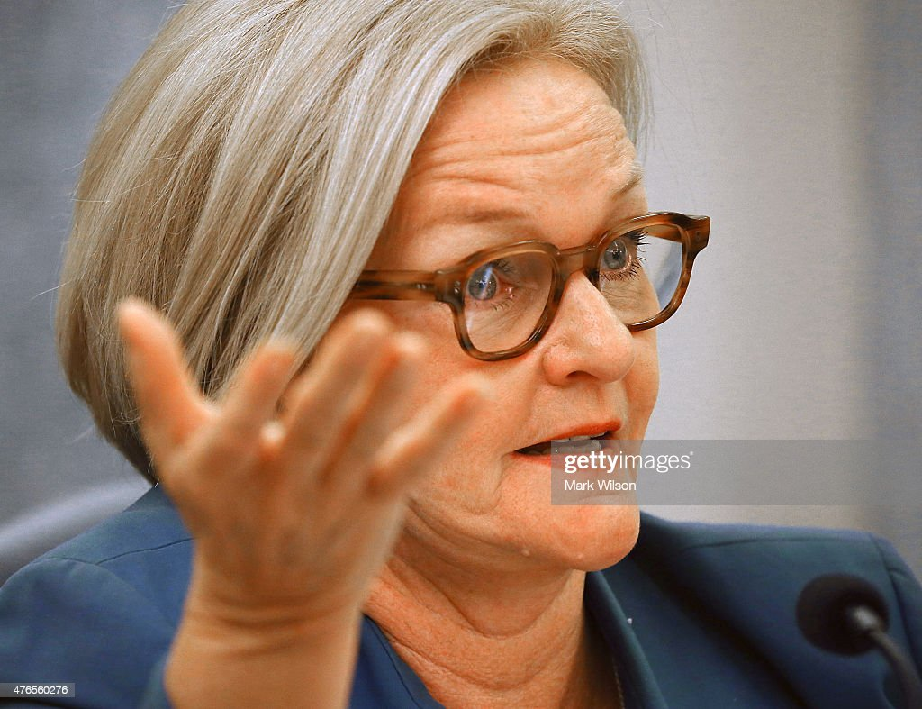 Sen. Claire Mccaskill (D-MO) speaks during a Senate Commerce, Science and Transportation Committee hearing on Capitol Hill June 10, 2015 in Washington, DC. The committee hearing testimony on passenger rail safety and future accident prevention.