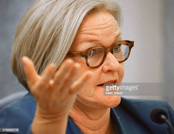 Sen Claire Mccaskill speaks during a Senate Commerce Science and Transportation Committee hearing on Capitol Hill June 10 2015 in Washington DC The...