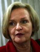 S Sen Claire McCaskill speaks to reporters September 26 2011 on Capitol Hill in Washington DC The Senate has approved a Continuing Resolution to fund...