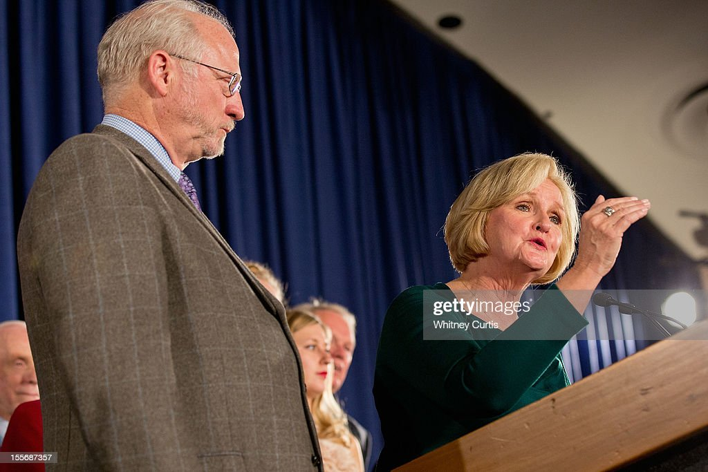 U.S. Sen. <a gi-track='captionPersonalityLinkClicked' href=/galleries/search?phrase=Claire+McCaskill&family=editorial&specificpeople=3951404 ng-click='$event.stopPropagation()'>Claire McCaskill</a> (D-MO) speaks to supporters next to her husband, Joseph Shepard (L), during an election night party November 6, 2012 in St. Louis, Missouri. McCaskill defeated Rep. Todd Akin (R-MO) for the Missouri U.S. senate seat.