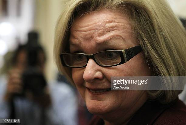 S Sen Claire McCaskill speaks to the media as she arrives for the Senate Democratic Policy Committee weekly luncheon November 30 2010 on Capitol Hill...