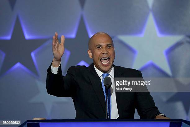 Sen Cory Booker delivers remarks on the first day of the Democratic National Convention at the Wells Fargo Center July 25 2016 in Philadelphia...