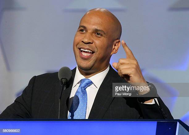 Sen Cory Booker delivers remarks on the first day of the Democratic National Convention at the Wells Fargo Center on July 25 2016 in Philadelphia...