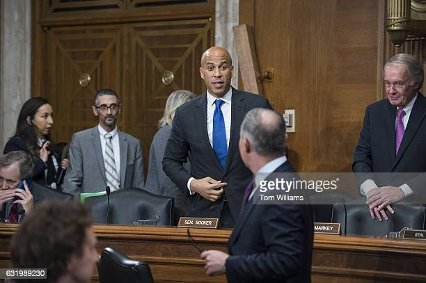 Sen Cory Booker DNJ talks with Scott Pruitt Presidentelect Trump's nominee to be administrator of the Environmental Protection Agency during his...