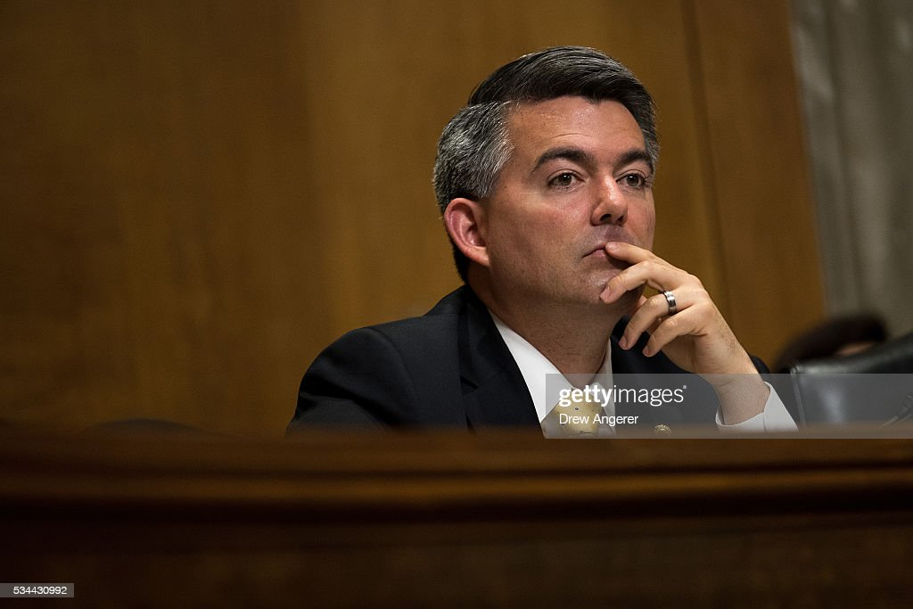 Sen. Cory Gardner (R-CO) listens to testimony during a Senate Foreign Relations Committee hearing concerning cartels and the U.S. heroin epidemic, on Capitol Hill, May 26, 2016, in Washington, DC. According to the U.S. Centers for Disease Control and Prevention, from 2002 to 2013 the rate of heroin-related deaths quadrupled in the United States, with most of the increase coming after 2010.