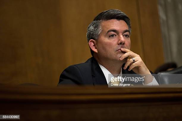 Sen Cory Gardner listens to testimony during a Senate Foreign Relations Committee hearing concerning cartels and the US heroin epidemic on Capitol...