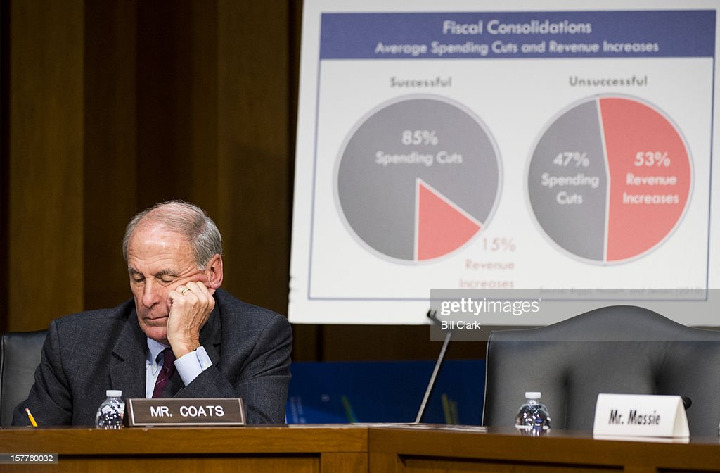 Sen Dan Coats RInd listens to testimony during the Joint Economic Committee hearing on 'Fiscal Cliff How to Protect the Middle Class Sustain LongTerm...